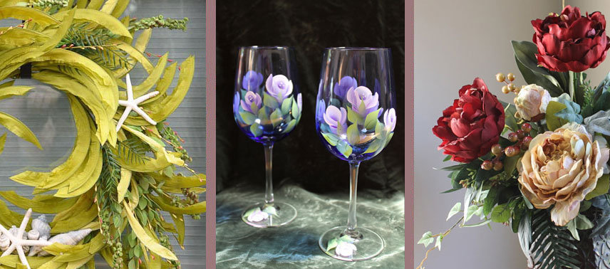 Bucks County Silk Arrangements Hand Painted Glasses